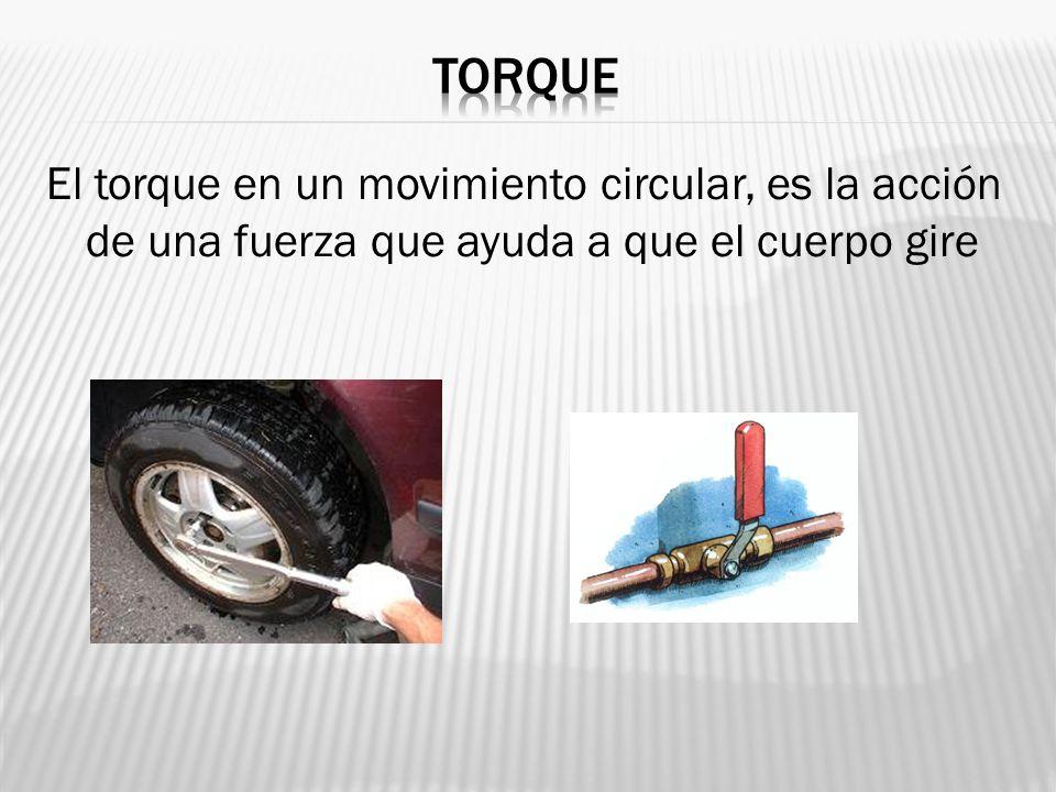 El torque en un movimiento circular, es la acción de una fuerza que ayuda a que el cuerpo gire