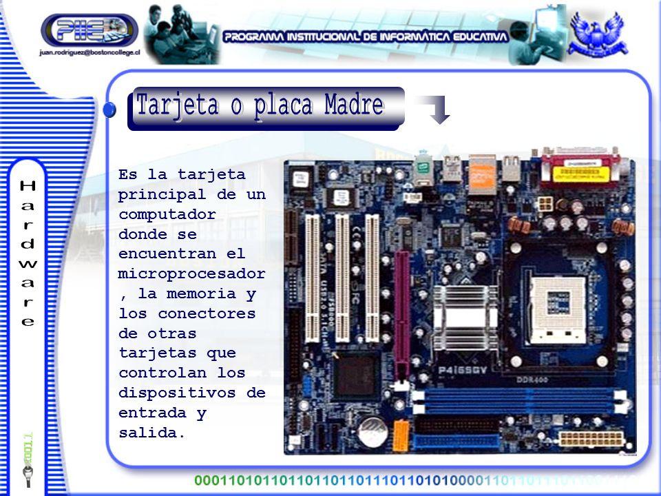 Es la tarjeta principal de un computador donde se encuentran el microprocesador, la memoria y los conectores de otras tarjetas que controlan los dispositivos de entrada y salida.