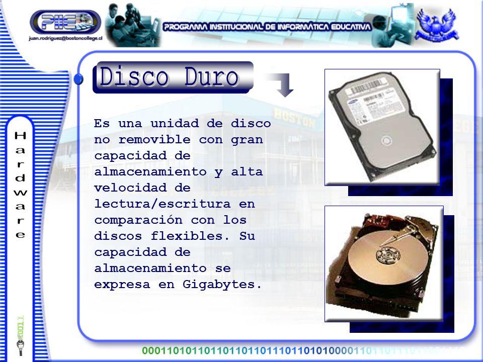 Es una unidad de disco no removible con gran capacidad de almacenamiento y alta velocidad de lectura/escritura en comparación con los discos flexibles.