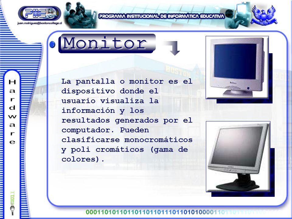 La pantalla o monitor es el dispositivo donde el usuario visualiza la información y los resultados generados por el computador.