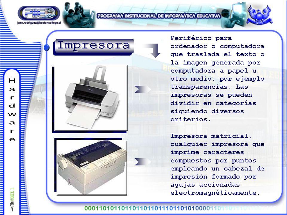 Impresora matricial, cualquier impresora que imprime caracteres compuestos por puntos empleando un cabezal de impresión formado por agujas accionadas electromagnéticamente.