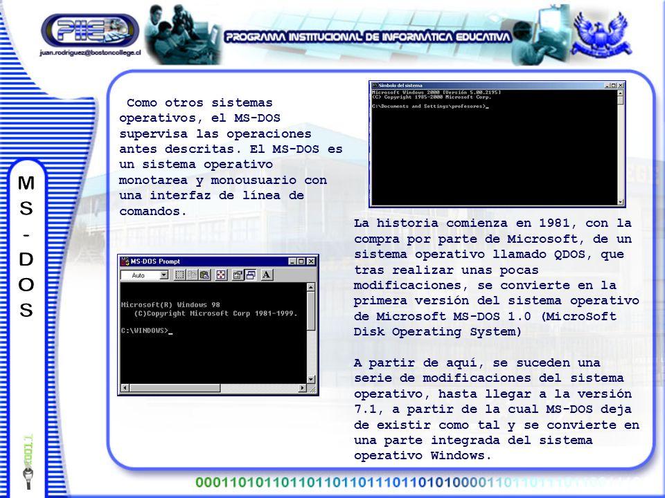 La historia comienza en 1981, con la compra por parte de Microsoft, de un sistema operativo llamado QDOS, que tras realizar unas pocas modificaciones, se convierte en la primera versión del sistema operativo de Microsoft MS-DOS 1.0 (MicroSoft Disk Operating System) A partir de aquí, se suceden una serie de modificaciones del sistema operativo, hasta llegar a la versión 7.1, a partir de la cual MS-DOS deja de existir como tal y se convierte en una parte integrada del sistema operativo Windows.