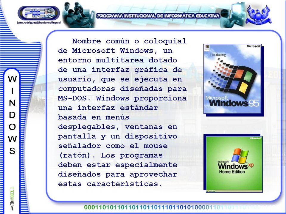 Nombre común o coloquial de Microsoft Windows, un entorno multitarea dotado de una interfaz gráfica de usuario, que se ejecuta en computadoras diseñadas para MS-DOS.