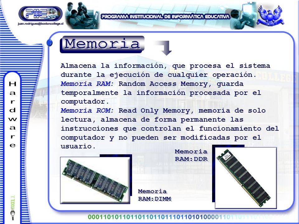 Almacena la información, que procesa el sistema durante la ejecución de cualquier operación.