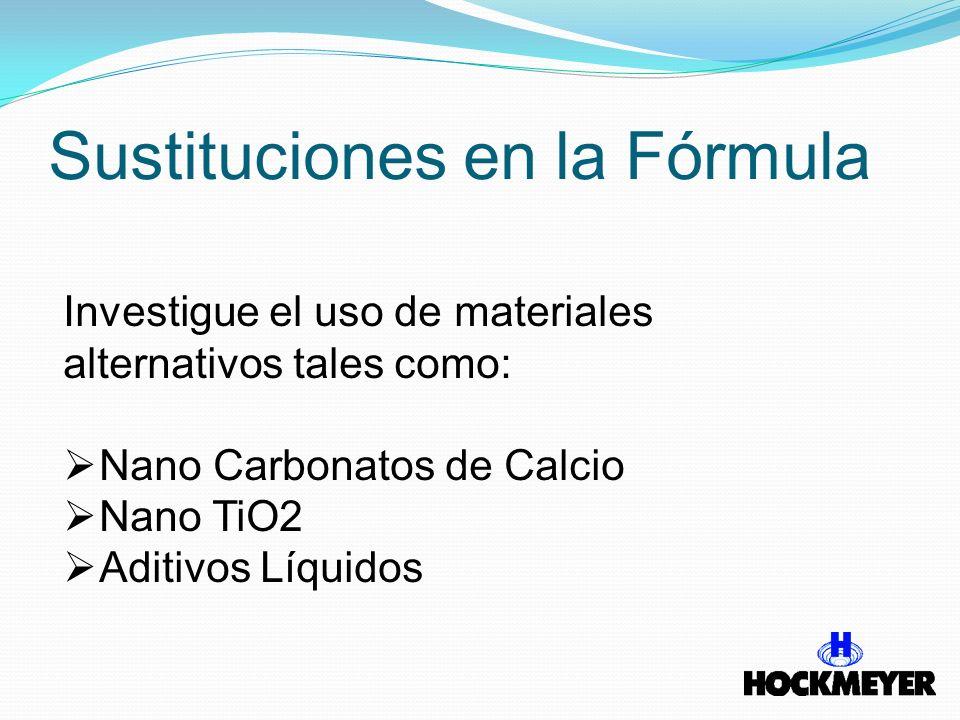 Sustituciones en la Fórmula Investigue el uso de materiales alternativos tales como: Nano Carbonatos de Calcio Nano TiO2 Aditivos Líquidos