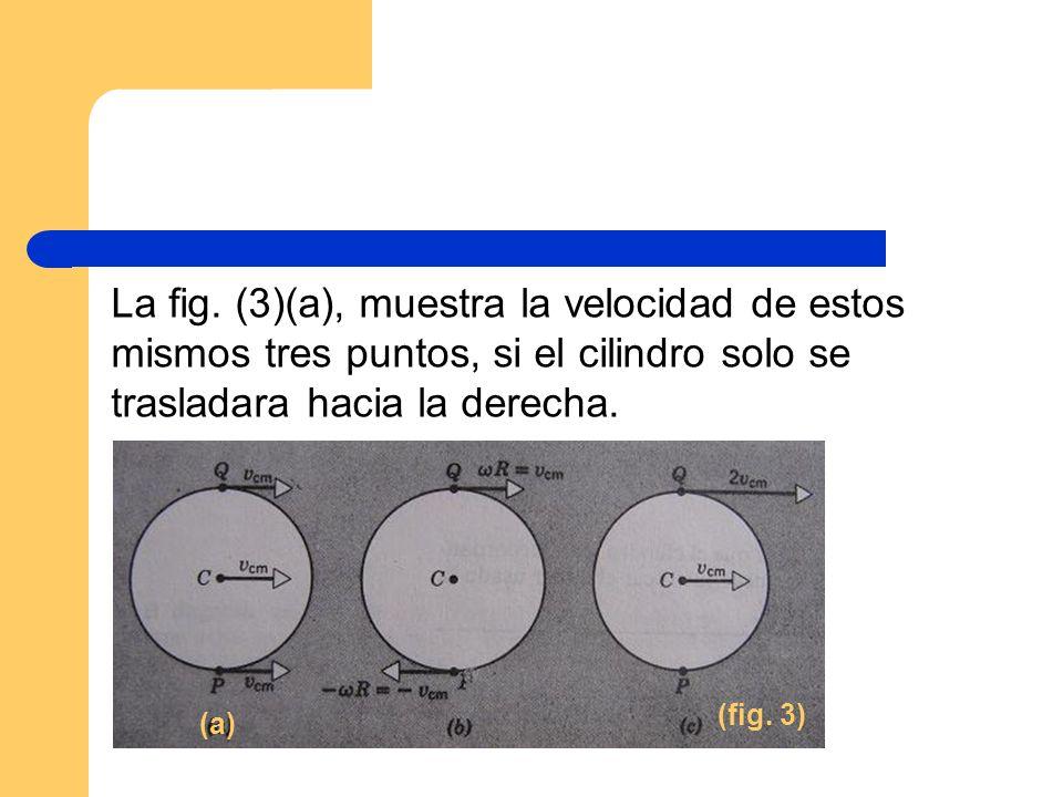 La fig. (3)(a), muestra la velocidad de estos mismos tres puntos, si el cilindro solo se trasladara hacia la derecha. (fig. 3) (a)