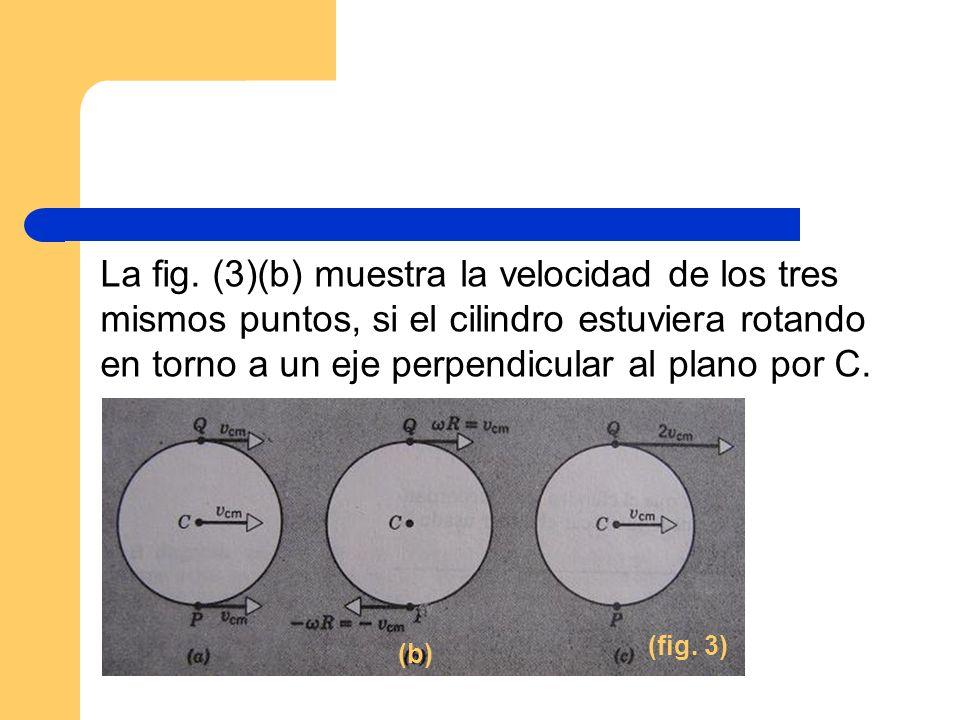La fig. (3)(b) muestra la velocidad de los tres mismos puntos, si el cilindro estuviera rotando en torno a un eje perpendicular al plano por C. (fig.