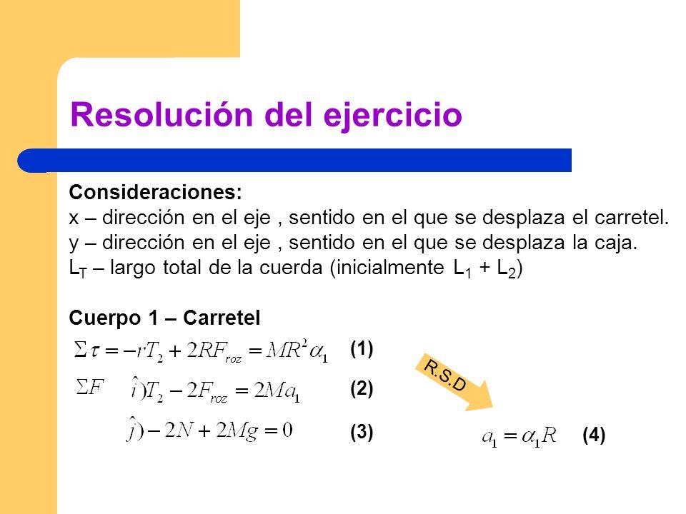 Resolución del ejercicio Consideraciones: x – dirección en el eje, sentido en el que se desplaza el carretel. y – dirección en el eje, sentido en el q