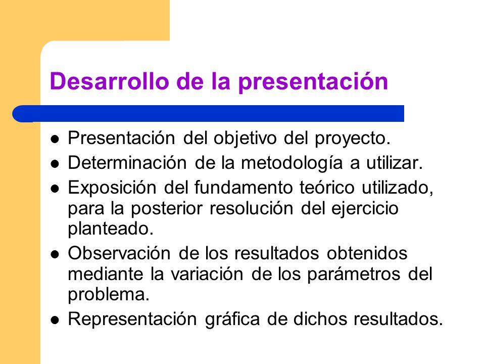 Desarrollo de la presentación Presentación del objetivo del proyecto. Determinación de la metodología a utilizar. Exposición del fundamento teórico ut