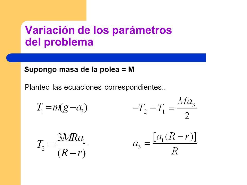 Variación de los parámetros del problema Supongo masa de la polea = M Planteo las ecuaciones correspondientes..