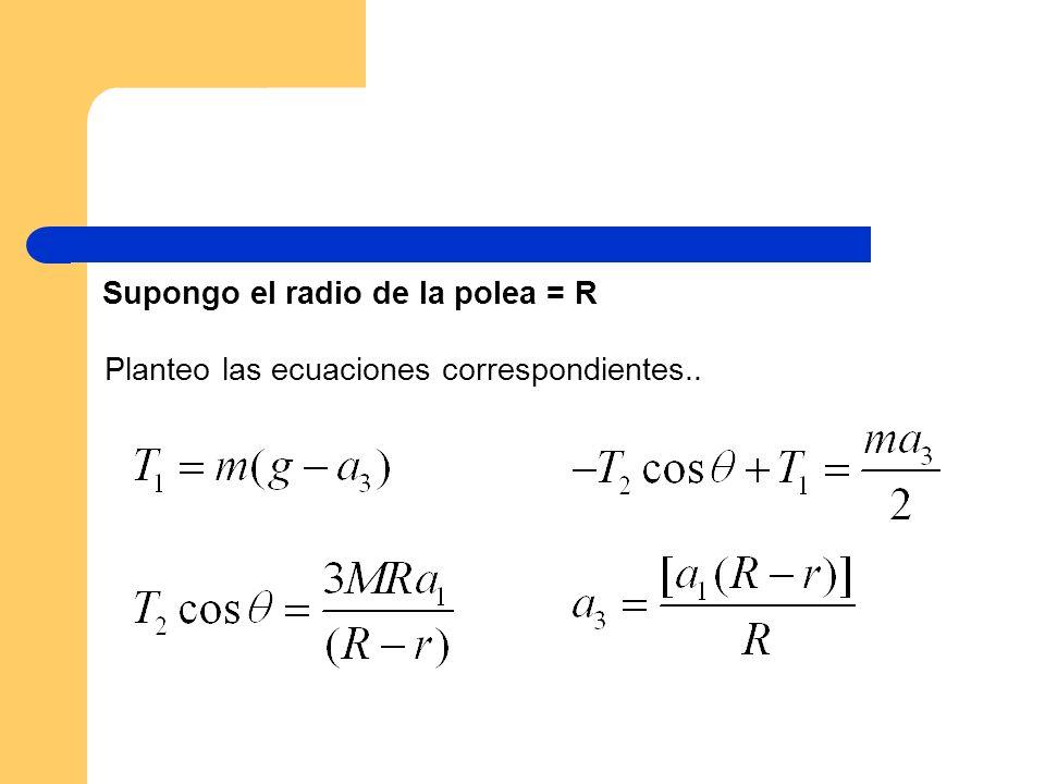 Supongo el radio de la polea = R Planteo las ecuaciones correspondientes..