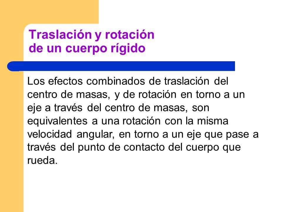 Traslación y rotación de un cuerpo rígido Los efectos combinados de traslación del centro de masas, y de rotación en torno a un eje a través del centr