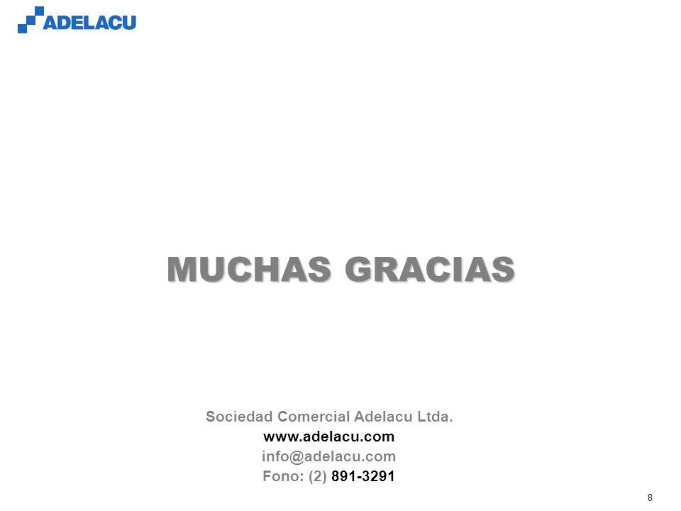 www.adelacu.com 8 MUCHAS GRACIAS Sociedad Comercial Adelacu Ltda. www.adelacu.com info@adelacu.com Fono: (2) 891-3291