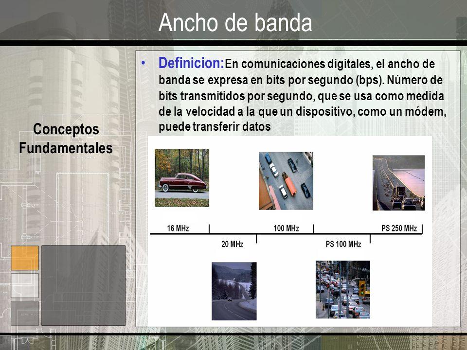 Ancho de banda Conceptos Fundamentales Definicion: En comunicaciones digitales, el ancho de banda se expresa en bits por segundo (bps). Número de bits