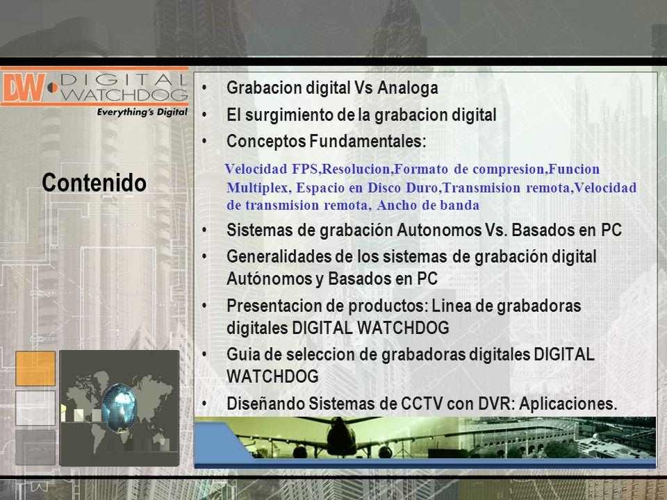Grabacion digital Vs Analoga El surgimiento de la grabacion digital Conceptos Fundamentales: Velocidad FPS,Resolucion,Formato de compresion,Funcion Mu