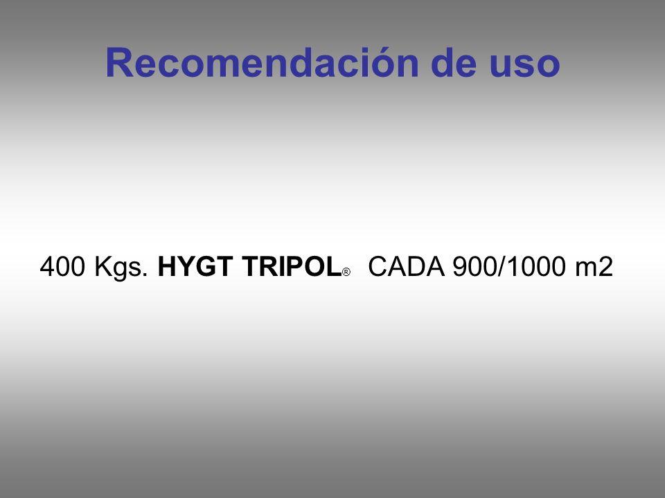 Recomendación de uso 400 Kgs. HYGT TRIPOL ® CADA 900/1000 m2