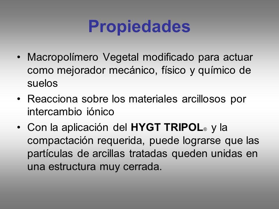 Propiedades Macropolímero Vegetal modificado para actuar como mejorador mecánico, físico y químico de suelos Reacciona sobre los materiales arcillosos