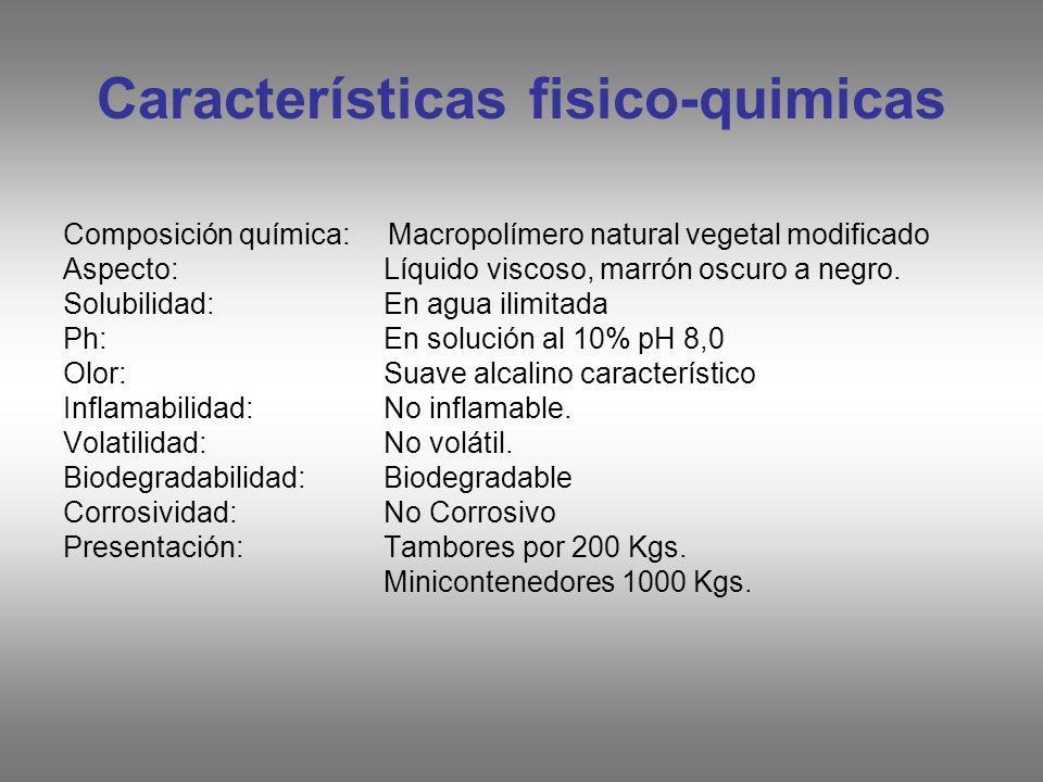 Características fisico-quimicas Composición química: Macropolímero natural vegetal modificado Aspecto: Líquido viscoso, marrón oscuro a negro. Solubil