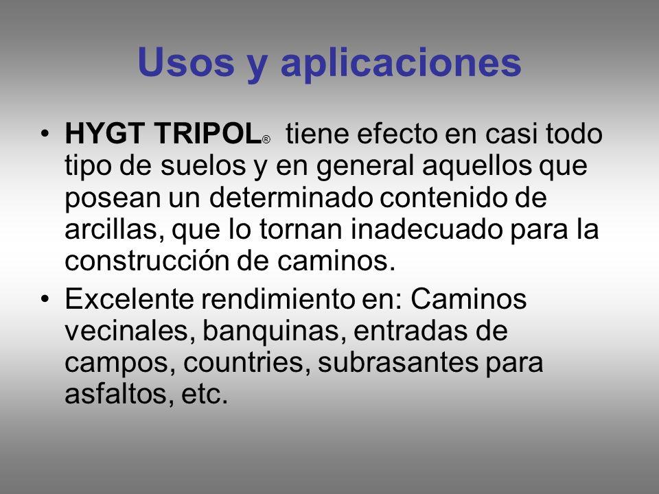 Usos y aplicaciones HYGT TRIPOL ® tiene efecto en casi todo tipo de suelos y en general aquellos que posean un determinado contenido de arcillas, que