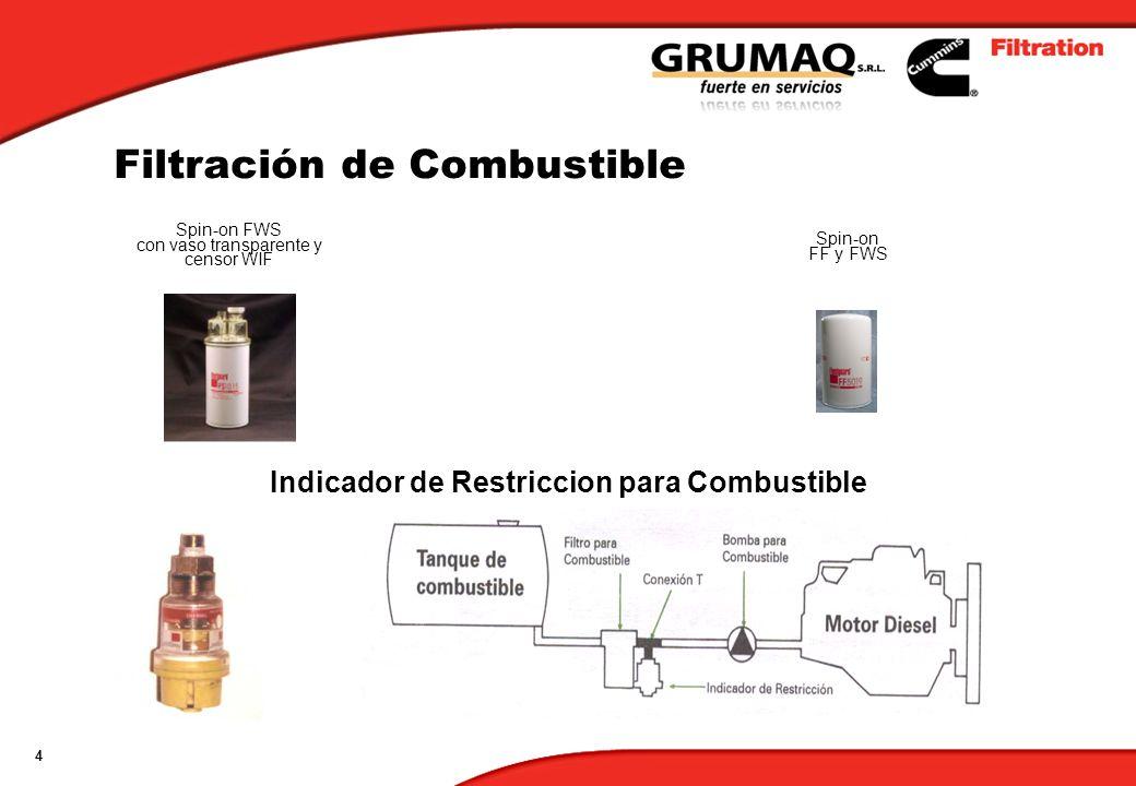 4 Spin-on FF y FWS Spin-on FWS con vaso transparente y censor WIF Filtración de Combustible Indicador de Restriccion para Combustible