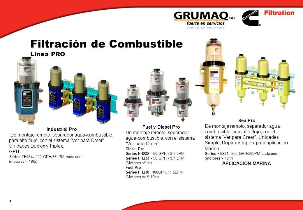 5 Fuel y Diesel Pro De montaje remoto, separador agua-combustible, con el sistema Ver para Creer Diesel Pro Series FH232 - 60 GPH / 3.8 LPM Series FH2