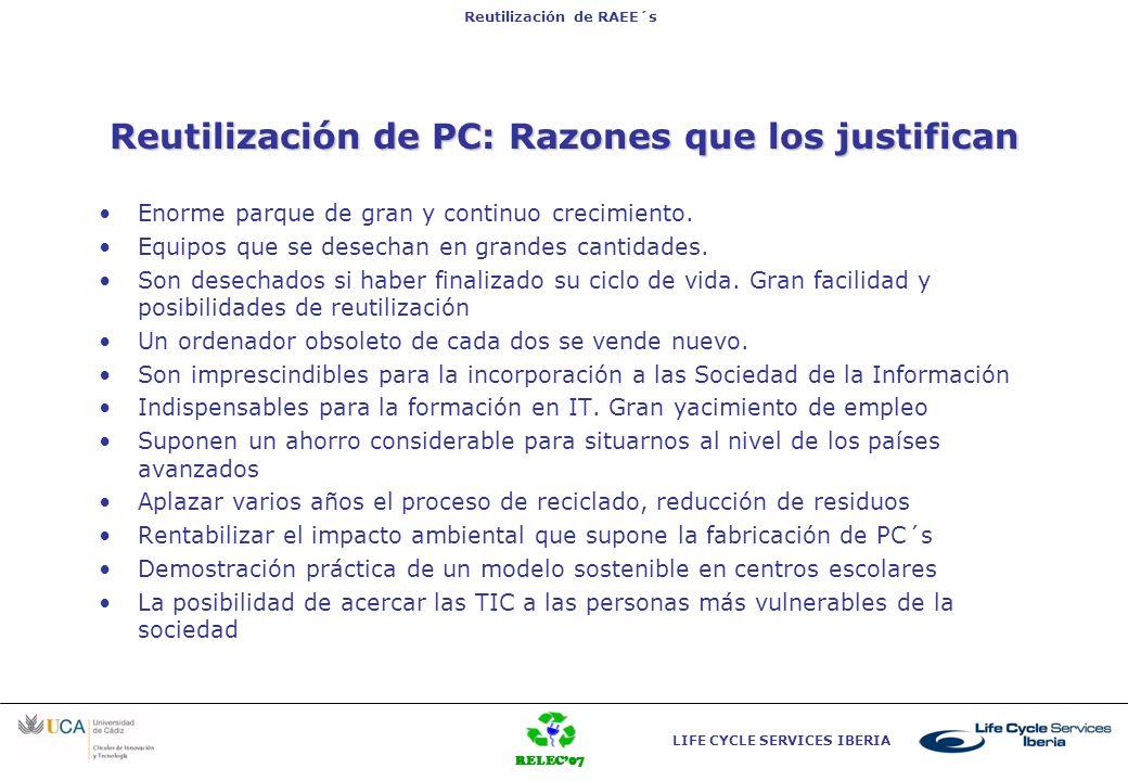 RELEC07 LIFE CYCLE SERVICES IBERIA Reutilización de RAEE´s Reutilización de PC: Razones que los justifican Enorme parque de gran y continuo crecimient