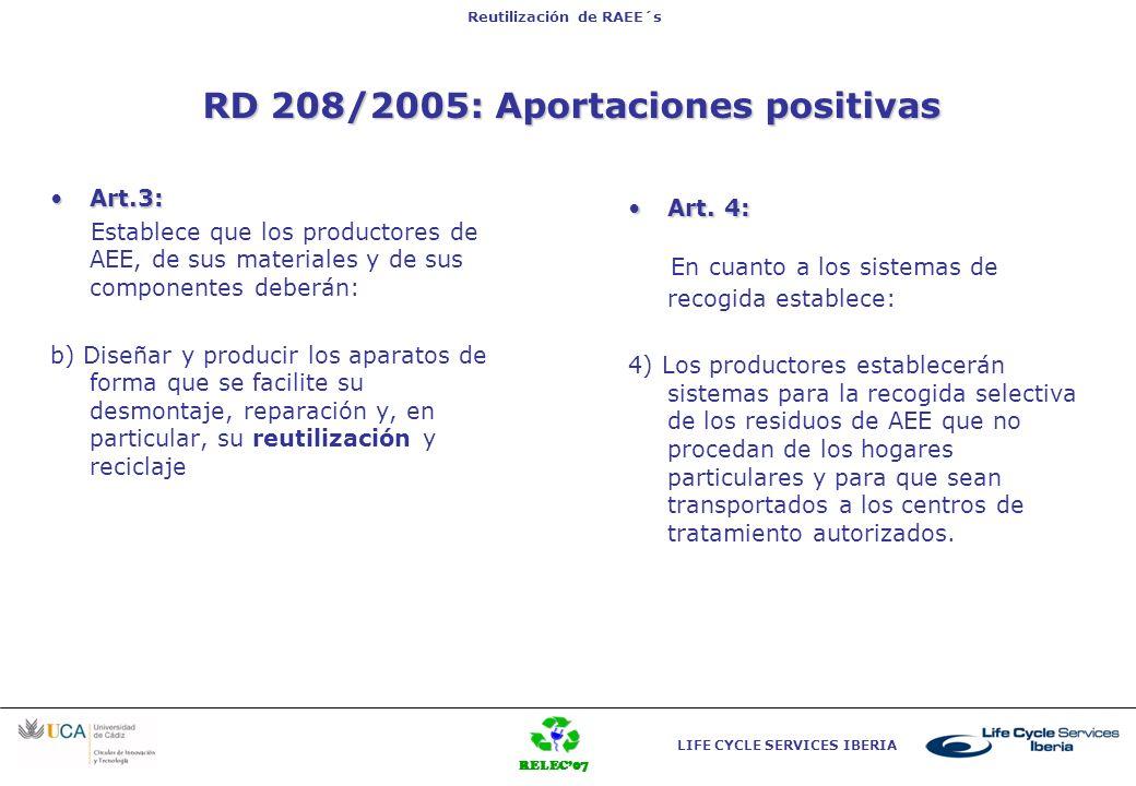 RELEC07 LIFE CYCLE SERVICES IBERIA Reutilización de RAEE´s RD 208/2005: Aportaciones positivas Art.3:Art.3: Establece que los productores de AEE, de s