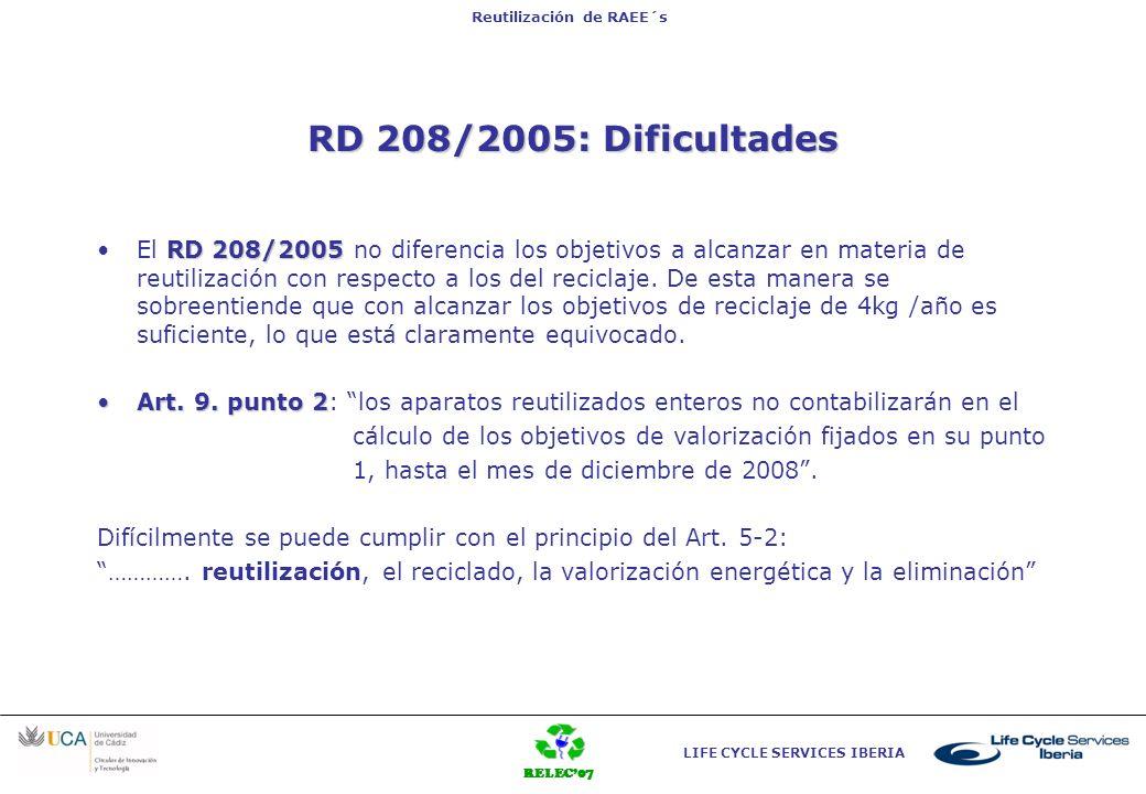 RELEC07 LIFE CYCLE SERVICES IBERIA Reutilización de RAEE´s Art. 3 RD 208/2005: Dificultades RD 208/2005El RD 208/2005 no diferencia los objetivos a al