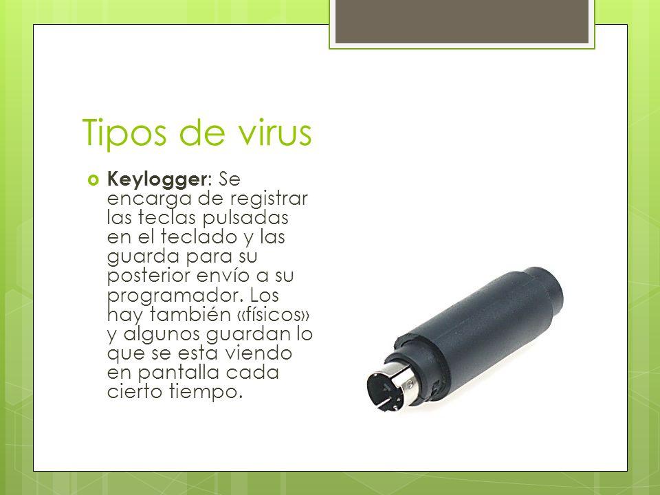 Tipos de virus Keylogger : Se encarga de registrar las teclas pulsadas en el teclado y las guarda para su posterior envío a su programador.