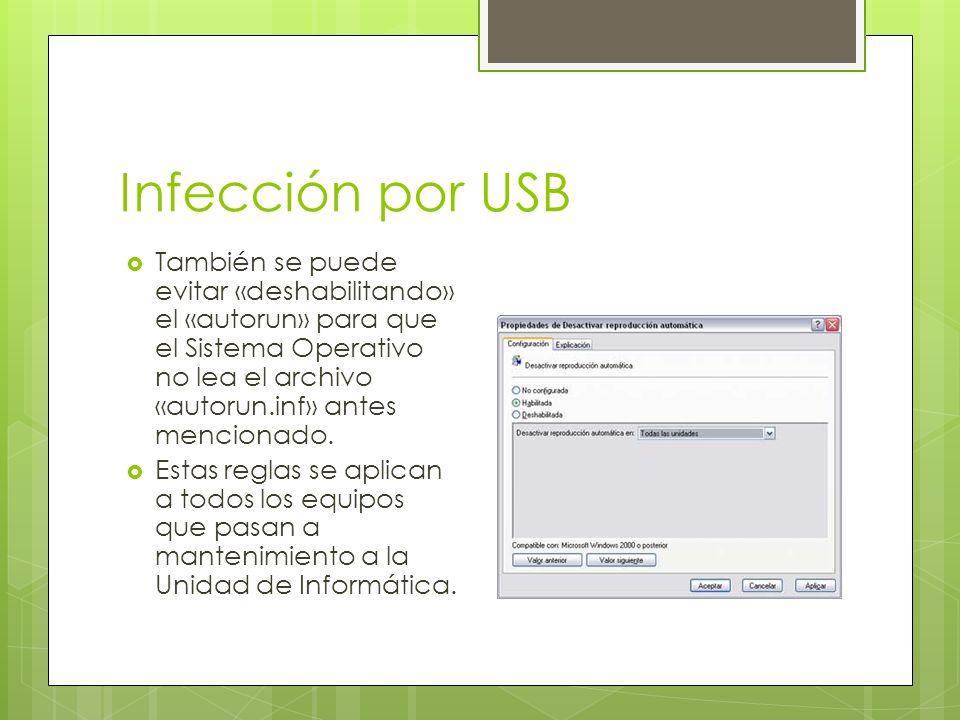 Infección por USB También se puede evitar «deshabilitando» el «autorun» para que el Sistema Operativo no lea el archivo «autorun.inf» antes mencionado.
