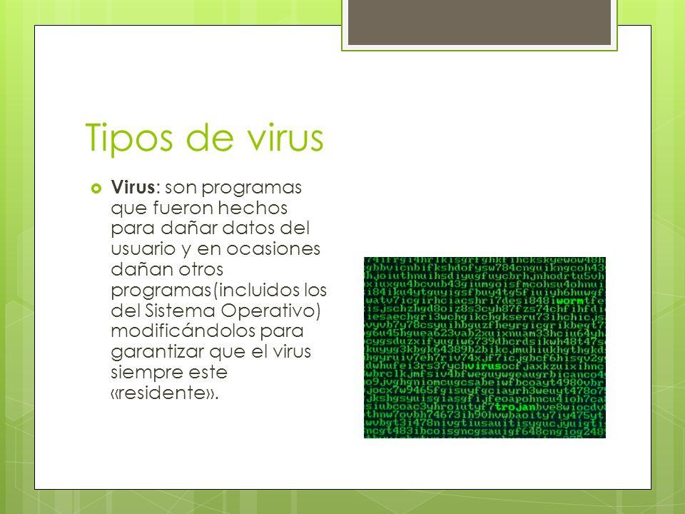 Tipos de virus Virus : son programas que fueron hechos para dañar datos del usuario y en ocasiones dañan otros programas(incluidos los del Sistema Operativo) modificándolos para garantizar que el virus siempre este «residente».