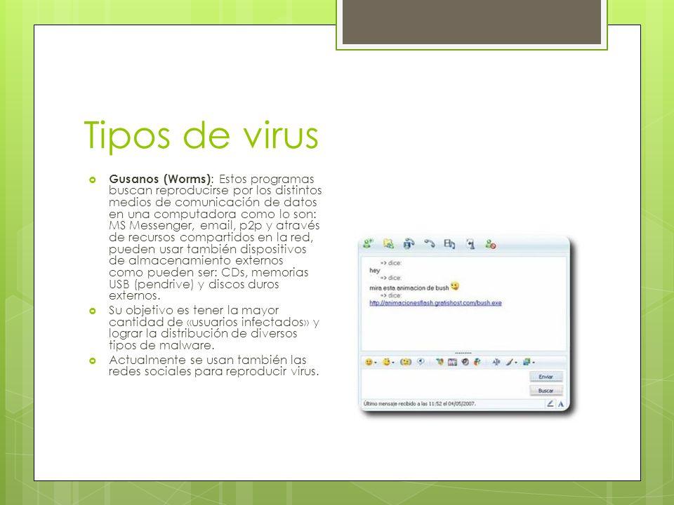 Infección por USB Esta clase de worms hacen un archivo llamado «autorun.inf» que le hace creer al Sistema Operativo que se trata de un «CD multimedia» y éste archivo contiene «instrucciones» de que archivos debe ejecutar.