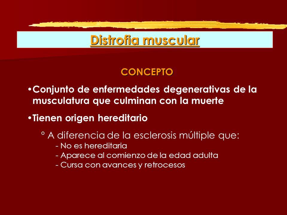 Distrofia muscular CONCEPTO Conjunto de enfermedades degenerativas de la musculatura que culminan con la muerte Tienen origen hereditario º A diferenc