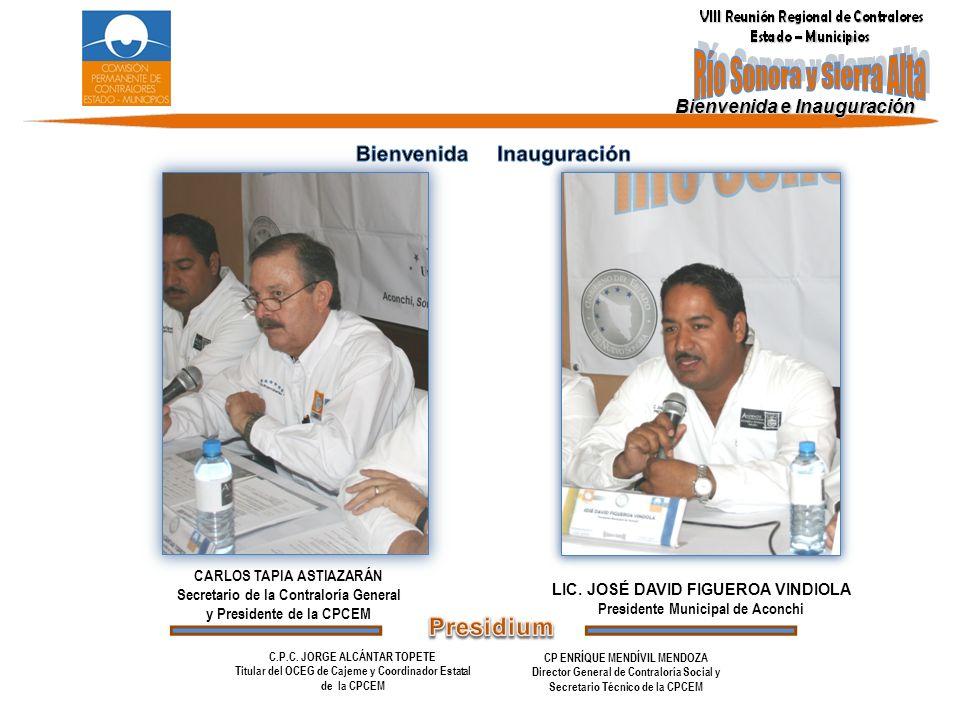 Bienvenida e Inauguración CARLOS TAPIA ASTIAZARÁN Secretario de la Contraloría General y Presidente de la CPCEM LIC. JOSÉ DAVID FIGUEROA VINDIOLA Pres