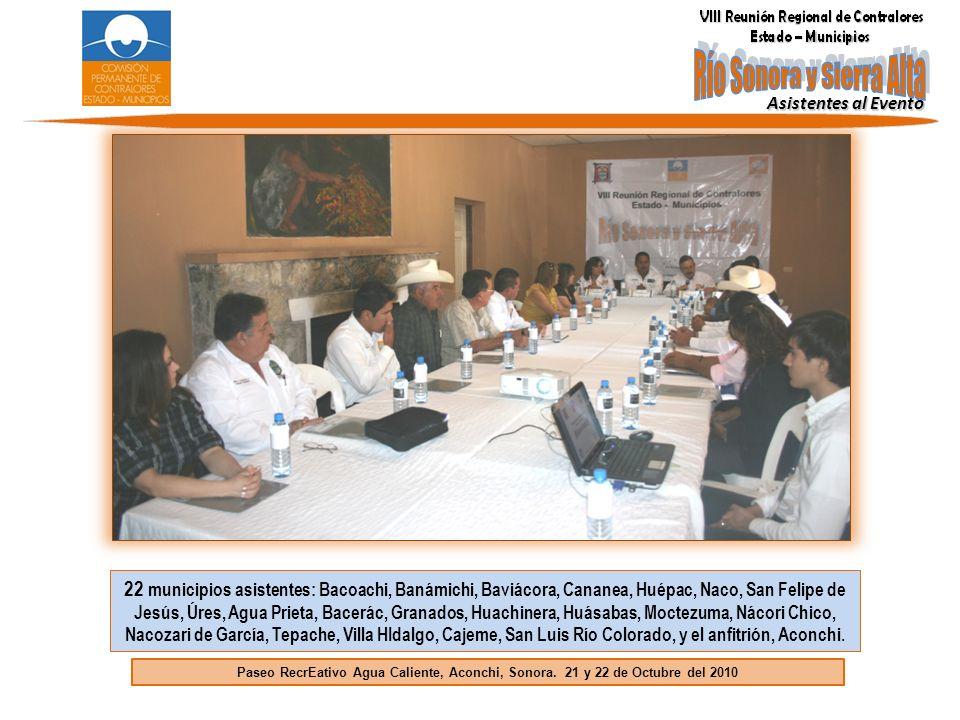 22 municipios asistentes: Bacoachi, Banámichi, Baviácora, Cananea, Huépac, Naco, San Felipe de Jesús, Úres, Agua Prieta, Bacerác, Granados, Huachinera