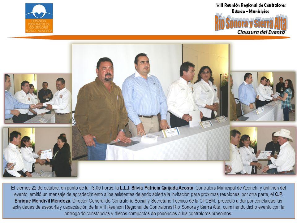 El viernes 22 de octubre, en punto de la 13:00 horas, la L.L.I. Silvia Patricia Quijada Acosta, Contralora Municipal de Aconchi y anfitrión del evento