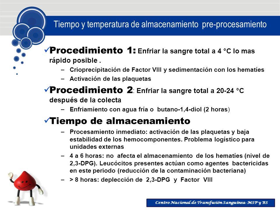 Centro Nacional de Transfusión Sanguínea- MSP y BS Tiempo y temperatura de almacenamiento pre-procesamiento Procedimiento 1: Enfriar la sangre total a
