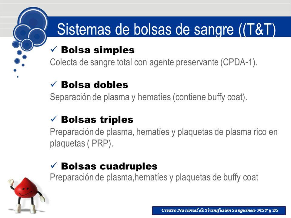 Centro Nacional de Transfusión Sanguínea- MSP y BS Sistemas de bolsas de sangre ((T&T) Bolsa simples Colecta de sangre total con agente preservante (C