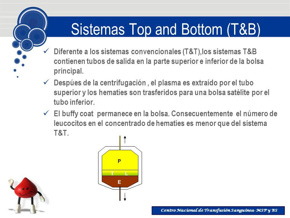 Centro Nacional de Transfusión Sanguínea- MSP y BS Sistemas Top and Bottom (T&B) Diferente a los sistemas convencionales (T&T),los sistemas T&B contie