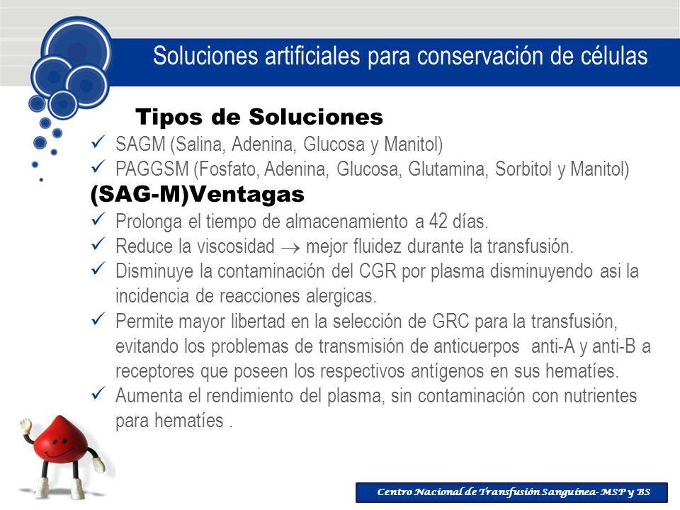 Centro Nacional de Transfusión Sanguínea- MSP y BS Soluciones artificiales para conservación de células Tipos de Soluciones SAGM (Salina, Adenina, Glu