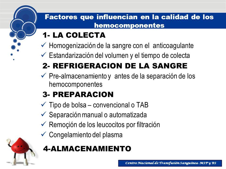 Centro Nacional de Transfusión Sanguínea- MSP y BS Factores que influencian en la calidad de los hemocomponentes 1- LA COLECTA Homogenización de la sa
