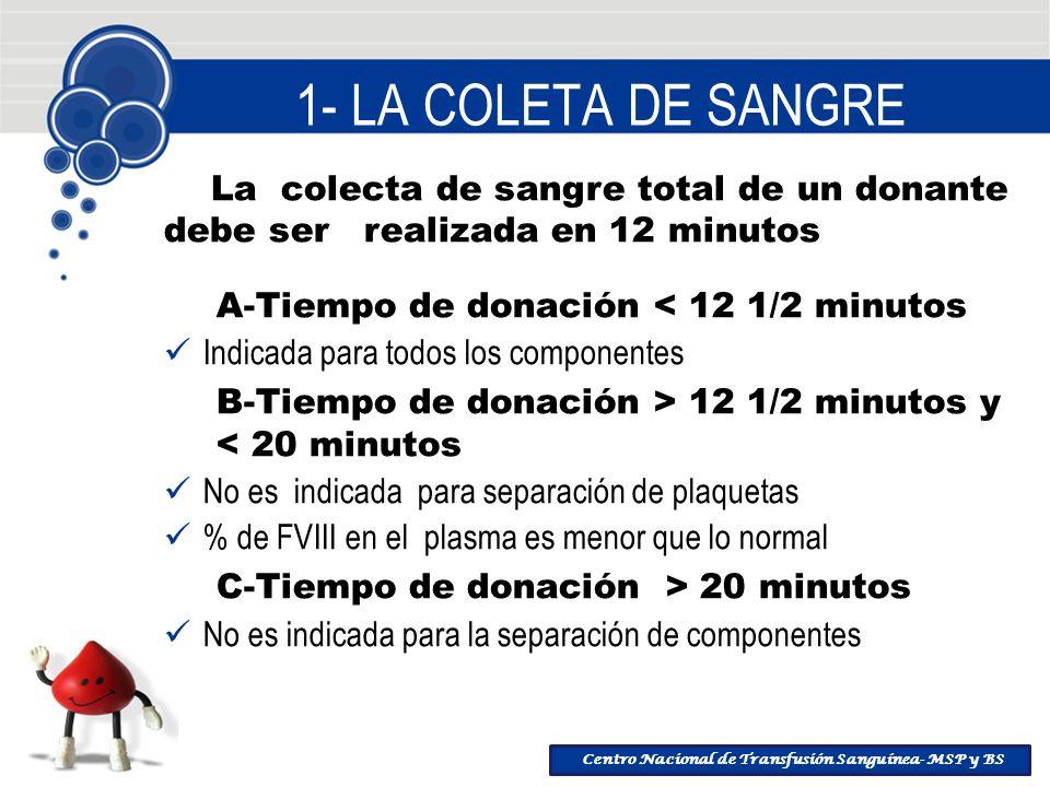 Centro Nacional de Transfusión Sanguínea- MSP y BS 1- LA COLETA DE SANGRE La colecta de sangre total de un donante debe ser realizada en 12 minutos A-