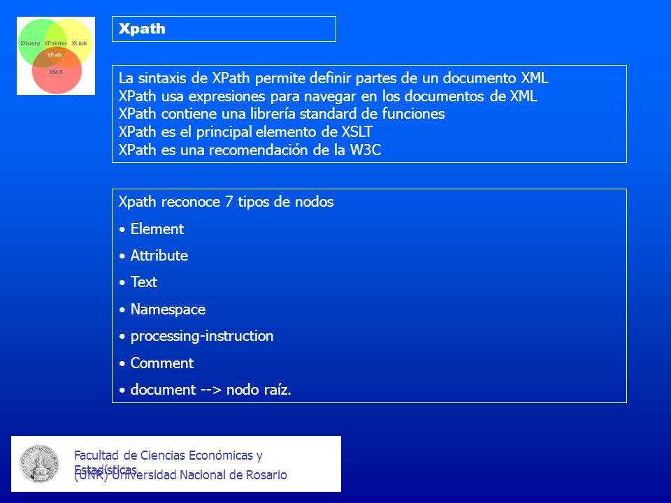 Facultad de Ciencias Económicas y Estadísticas (UNR) Universidad Nacional de Rosario Xpath La sintaxis de XPath permite definir partes de un documento