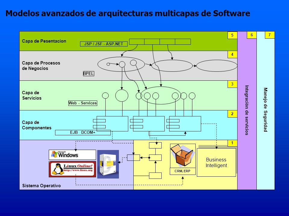 Sistema Operativo Business Intelligence Business Intelligence CRM, ERP Business Intelligent Business Intelligent 1 Capa de Componentes 2 EJB DCOM+ Capa de Servicios Web - Services 3 Capa de Procesos de Negocios BPEL 4 Capa de Pesentacion JSP / JSF - ASP.NET 5 Integración de servicios 6 Manejo de Seguridad 7 Modelos avanzados de arquitecturas multicapas de Software