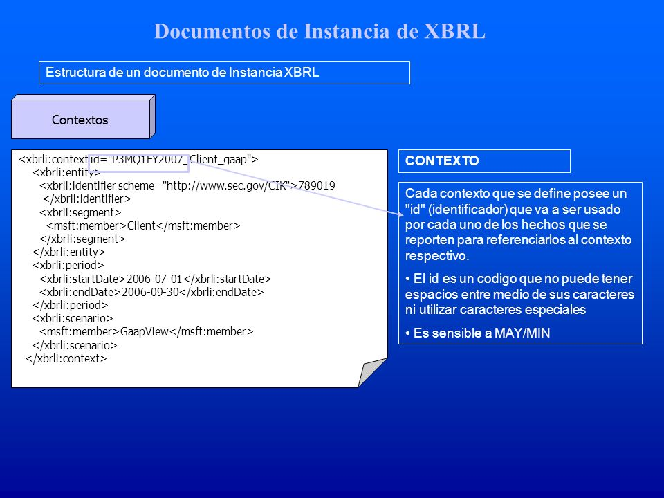Documentos de Instancia de XBRL Estructura de un documento de Instancia XBRL Contextos 789019 Client 2006-07-01 2006-09-30 GaapView CONTEXTO Cada contexto que se define posee un id (identificador) que va a ser usado por cada uno de los hechos que se reporten para referenciarlos al contexto respectivo.