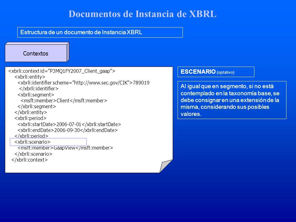 Documentos de Instancia de XBRL Estructura de un documento de Instancia XBRL Contextos 789019 Client 2006-07-01 2006-09-30 GaapView ESCENARIO (optativo) Al igual que en segmento, si no está contemplado en la taxonomía base, se debe consignar en una extensión de la misma, considerando sus posibles valores.