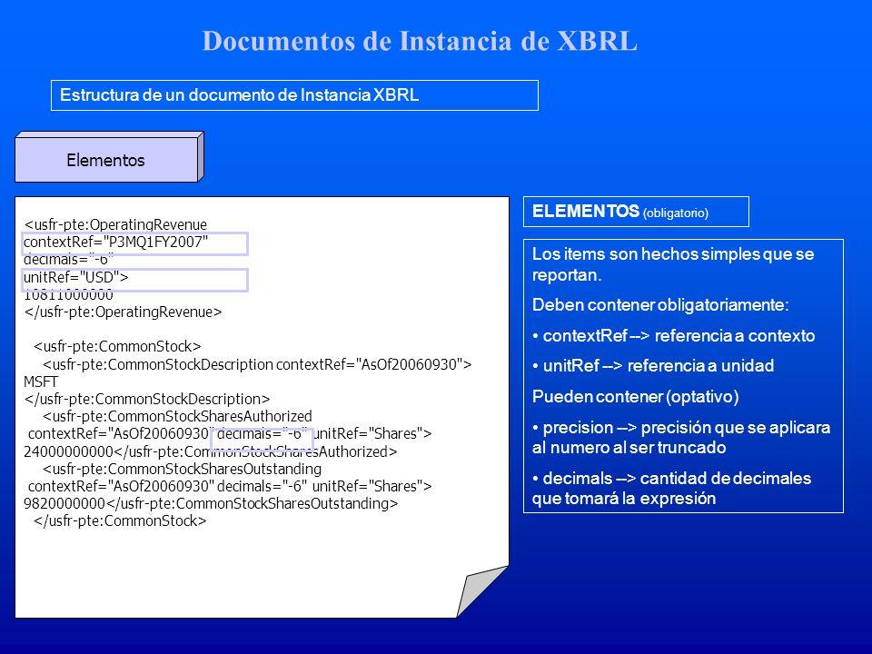 Documentos de Instancia de XBRL Estructura de un documento de Instancia XBRL Elementos <usfr-pte:OperatingRevenue contextRef= P3MQ1FY2007 decimals= -6 unitRef= USD > 10811000000 MSFT <usfr-pte:CommonStockSharesAuthorized contextRef= AsOf20060930 decimals= -6 unitRef= Shares > 24000000000 <usfr-pte:CommonStockSharesOutstanding contextRef= AsOf20060930 decimals= -6 unitRef= Shares > 9820000000 ELEMENTOS (obligatorio) Los items son hechos simples que se reportan.