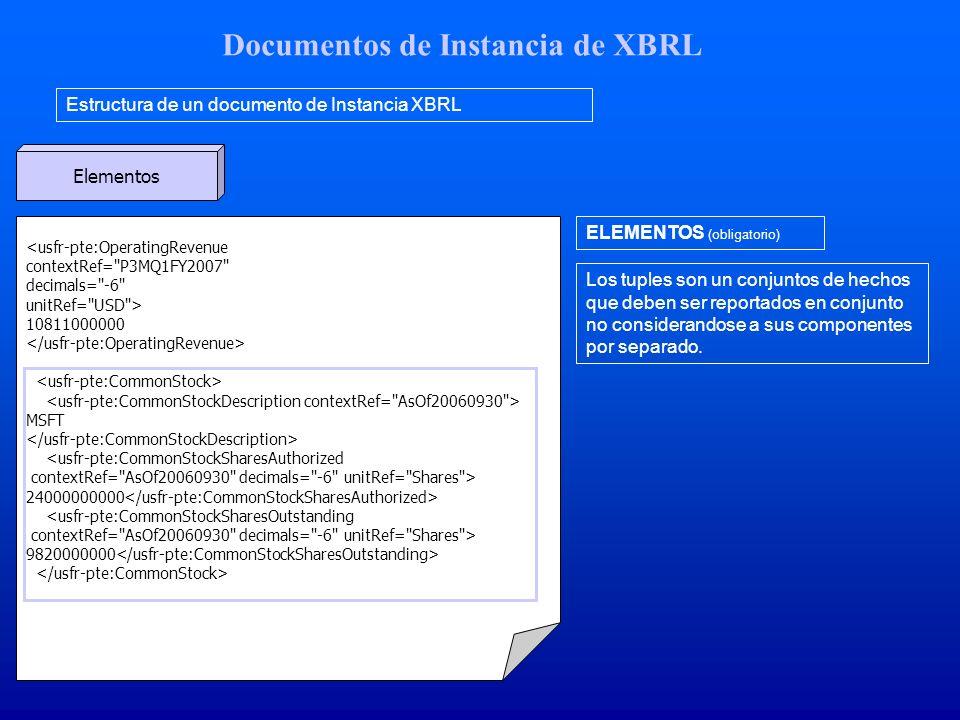 Documentos de Instancia de XBRL Estructura de un documento de Instancia XBRL Elementos <usfr-pte:OperatingRevenue contextRef= P3MQ1FY2007 decimals= -6 unitRef= USD > 10811000000 MSFT <usfr-pte:CommonStockSharesAuthorized contextRef= AsOf20060930 decimals= -6 unitRef= Shares > 24000000000 <usfr-pte:CommonStockSharesOutstanding contextRef= AsOf20060930 decimals= -6 unitRef= Shares > 9820000000 ELEMENTOS (obligatorio) Los tuples son un conjuntos de hechos que deben ser reportados en conjunto no considerandose a sus componentes por separado.