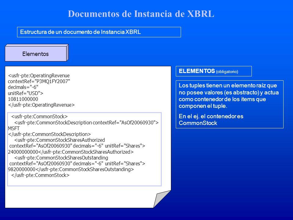 Documentos de Instancia de XBRL Estructura de un documento de Instancia XBRL Elementos <usfr-pte:OperatingRevenue contextRef= P3MQ1FY2007 decimals= -6 unitRef= USD > 10811000000 MSFT <usfr-pte:CommonStockSharesAuthorized contextRef= AsOf20060930 decimals= -6 unitRef= Shares > 24000000000 <usfr-pte:CommonStockSharesOutstanding contextRef= AsOf20060930 decimals= -6 unitRef= Shares > 9820000000 ELEMENTOS (obligatorio) Los tuples tienen un elemento raíz que no posee valores (es abstracto) y actua como contenedor de los items que componen el tuple.