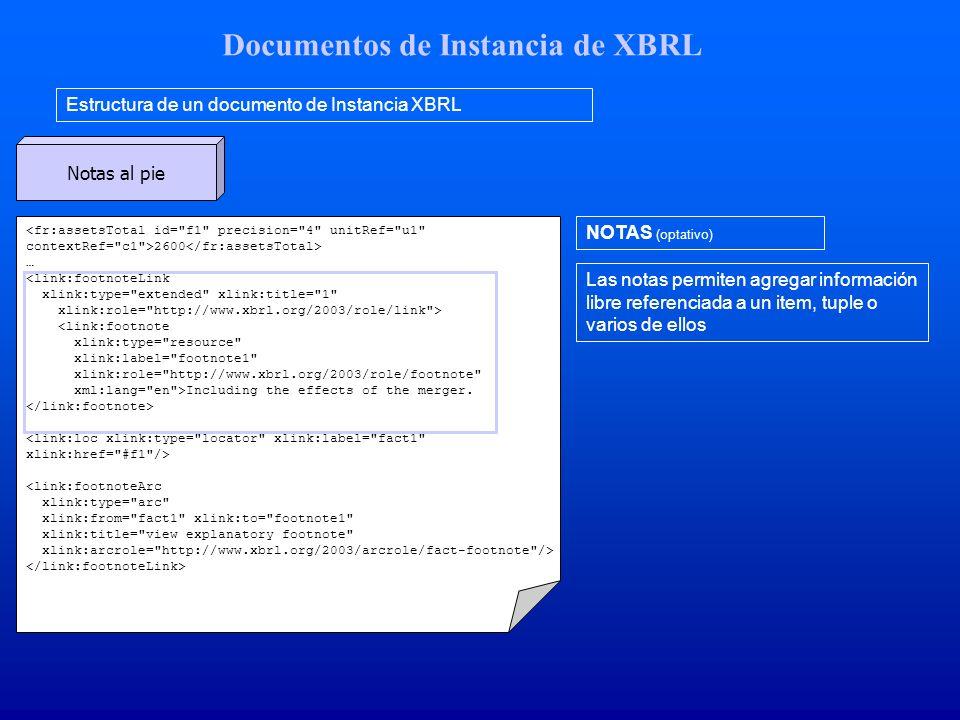 Documentos de Instancia de XBRL Estructura de un documento de Instancia XBRL NOTAS (optativo) Las notas permiten agregar información libre referenciad